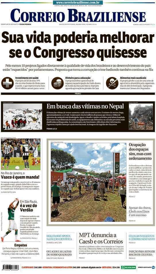 Correio Braziliense, 27 de Abril de 2015