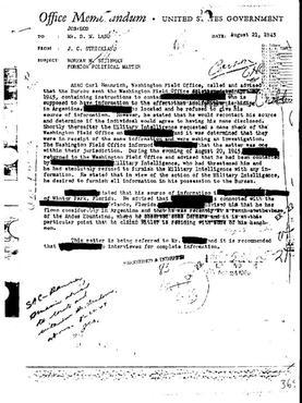 Documento de comunica��o interna do FBI que reporta sobre uma testemunha que teria