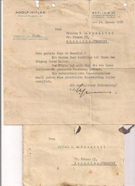Carta em nome de Hitler enviada ao Paraguai, em 1939, na qual se nega um pedido a uma senhora de nome Fel�cia, cuja peti��o � desconhecida. A carta atesta a comunica��o entre Hitler e o pa�s latino.   (Abel Basti/Divulga��o)