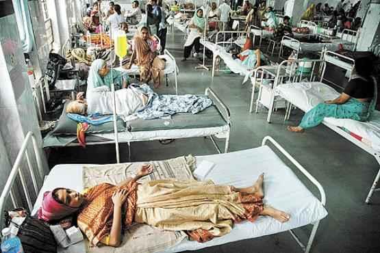 Pacientes infectados pelo Chikungunya são tratados na Índia: doença não é fatal, mas pode causar dores fortes (Ajit Solanki/AP - 17/1/08)