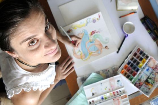 Luda Lima em processo de cria��o: desenhos para um �pico do Oriente