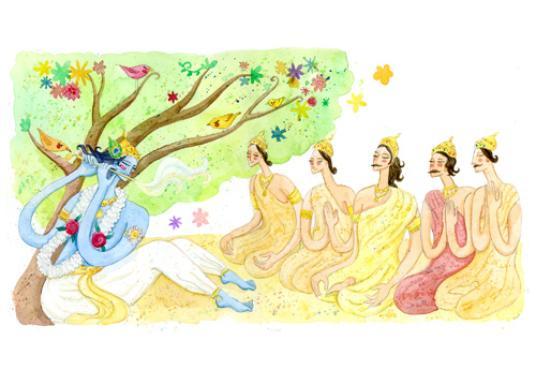 Ilustração para o livro animado Arjuna: atmosfera de encantamento