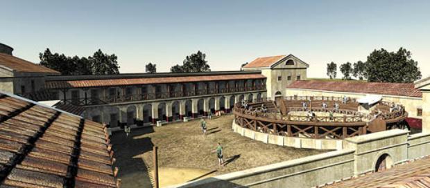 Uma das projeções da antiga escola de gladiadores descoberta na Áustria com a ajuda das novas tecnologias: reconstituição detalhada