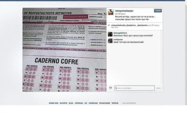 Foto do caderno cofre foi divulgada na rede e recebeu críticas de seguidores, antes de ser retirada do ar (Reprodução)