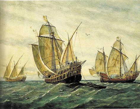 Tela de Rafael Monleon Y Torres mostra as caravelas Pinta, Nina e Santa Maria, que levou Colombo da Espanha � Am�rica (Reprodu��o/Internet)
