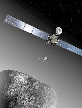 Ilustração mostra a aproximação entre o 67P e a sonda Rosetta (E), que já produziu imagens detalhadas da superfície do cometa (D) (European Space Agency-C. Carreau/ATG medialab/Reuters - 20/1/14)