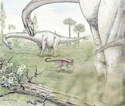 Ilustra��o do Dreadnoughtus schrani: apesar do tamanho, ele n�o amea�ava outros bichos, por ser herb�voro