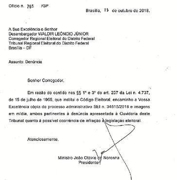 Ofício encaminhado pelo presidente do STJ, ministro João Otávio de Noronha, ao TRE: investigação