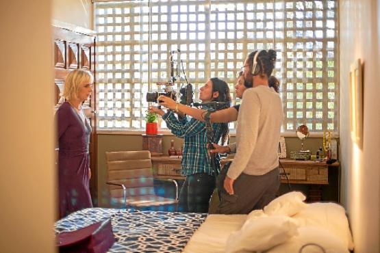 Dani Azul no trabalho do curta A mulher que não sabia de si,  com  direção de Daniela Smith, que terá estreia ainda em 2019 (Arquivo Pessoal)