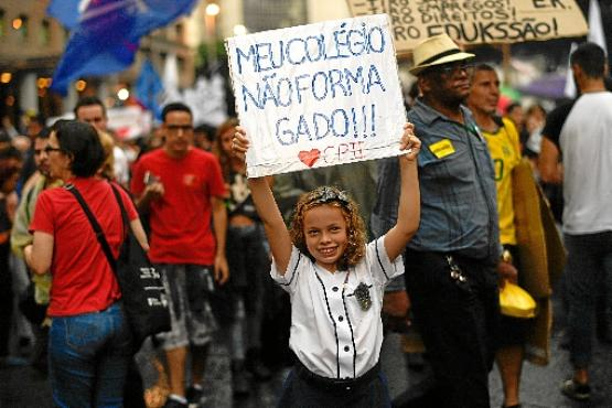 Em São Paulo, a concentração foi no Masp, na Avenida Paulista (Nelson Almeida/AFP)