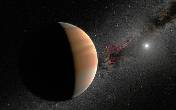 Concepção artística de um exoplaneta orbitando sua estrela-mãe: H20 menos abundantes que de outros elementos (IAU/M. Kornmesser/N. Risinger/Divulgação)