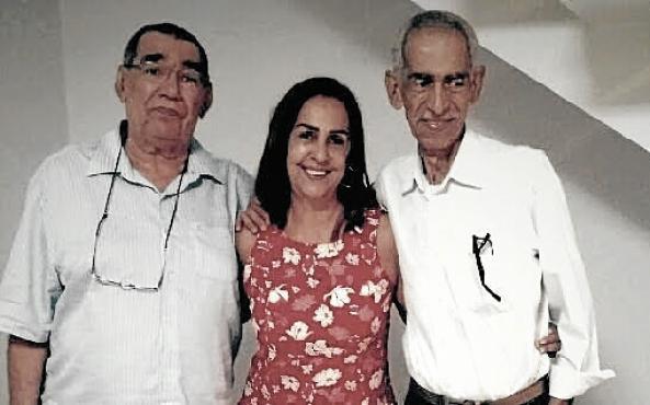 Com os irmãos, Luiz Berto e Lúcia