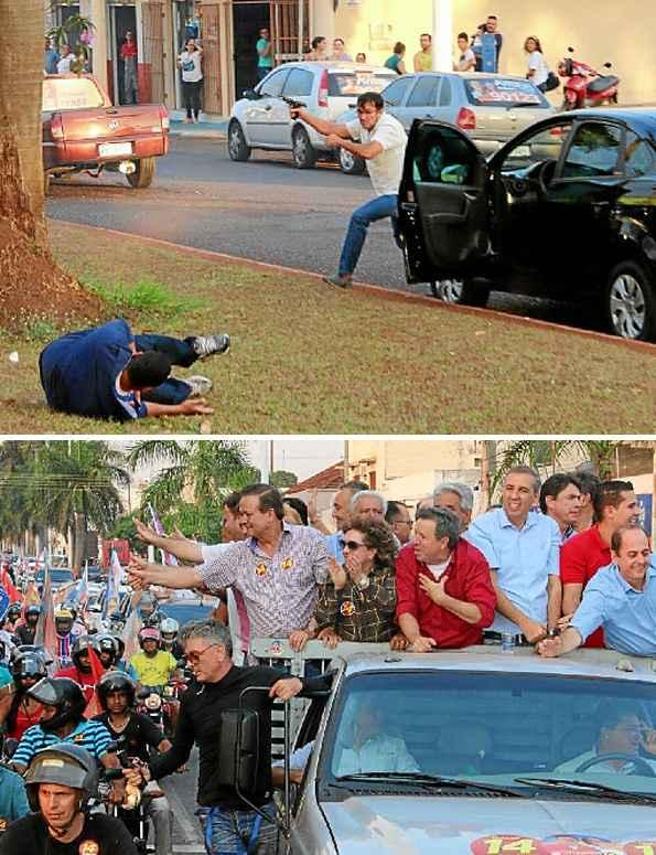 De arma em punho, o atirador matou um cabo da PM, o candidato a prefeito Jos� Gomes Rocha (de vermelho, � direita) e feriu o vice-governador, Jos� Eliton (de azul, ao lado de Rocha). No fim, foi morto por seguran�as Um atirador interrompeu uma carreata em Itumbiara (GO), cidade de 100 mil habitantes a 409km de Bras�lia, sacou uma pistola .40 e abriu fogo, matando o candidato a prefeito Jos� Gomes Rocha (PTB), que liderava a corrida eleitoral no munic�pio. O vice-governador e secret�rio de seguran�a p�blica do Estado, Jos� Eliton (PSDB), que estava em cima de uma caminhonete ao lado de Rocha, foi ferido no abd�men. Seguran�as de Eliton %u2013 que foi operado e n�o corre risco de morte %u2013 reagiram e trocaram tiros com o assassino, que acabou morto. Identificado como Gilberto Ferreira do Amaral, o B�ba, ele era funcion�rio da prefeitura local. No tiroteio morreu ainda o cabo da PM Vanilson Rodrigues.  (Fotos: Reprodu��o/Whatsapp)