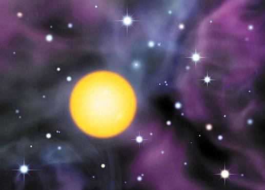 Ilustração da SDSS J0018-0939, estrela na qual foram achados os vestígios das antigas estrelas gigantes